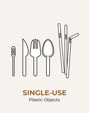 Spoon, fork, knife, stirrer, straws. Single-use plastic cutlery. Vector illustration set of recycling plastic items. Food plastic cutlery flat logo for ecological poster, pollution environment concept