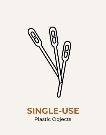 Stirrer single-use plastic cutlery. Vector illustration set of recycling plastic items. White food plastic stirrer flat logo for ecological poster, postcard, banner, pollution and environment concept. 矢量图像