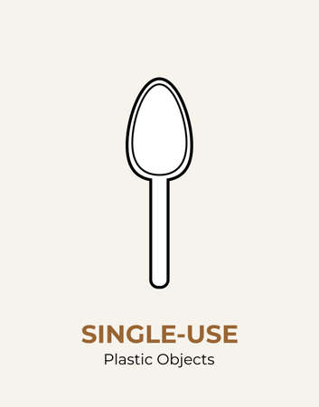 Spoon single-use plastic cutlery. Vector illustration set of recycling plastic item. White spoon food plastic flat logo for ecological poster, postcard, banner, pollution and environment concept.