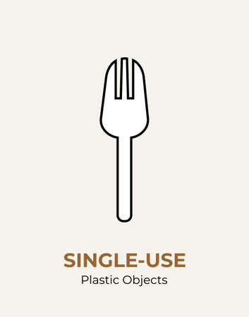 Fork single-use plastic cutlery. Vector illustration set of recycling plastic item. White fork food plastic flat logo for ecological poster, postcard, banner, pollution and environment concept.