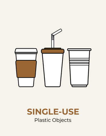 Paper cup with plastic lid, straw, plastic cup. Single-use white plastic utensils vector illustration set. Food plastic utensils flat logo for ecological poster, pollution environment concept.