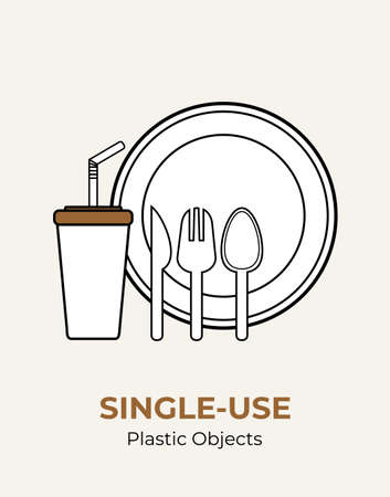 Plastic spoon, fork, knife, stirrer, straw, plate, cup. Single-use white plastic cutlery vector illustration set. Food plastic cutlery flat logo for ecological poster, pollution environment concept.