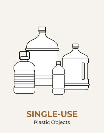 Plastic bottles. Vector illustration of single-use recycling plastic big bottles. Isolated transparent bottle. Flat logo for ecological poster, postcard, banner, pollution and environment concept.