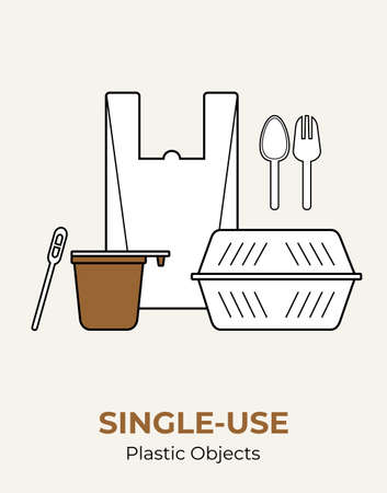 Plastic food container, bag, cup, spoon, fork, stirrer. Single-use white plastic cutlery vector illustration set. Food plastic cutlery flat logo for ecological poster, pollution environment concept 矢量图像