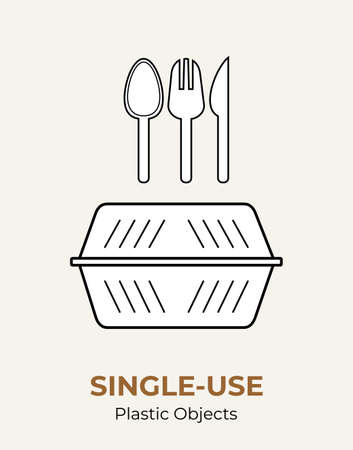 Plastic food container, spoon, fork, knife. Single-use white plastic cutlery vector illustration set. Food plastic cutlery flat logo for ecological poster, pollution environment concept.