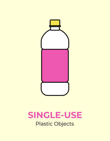 Plastic pink bottle. Vector illustration of single-use recycling plastic bottle. Isolated transparent bottle. Flat logo for ecological poster, postcard, banner, pollution and environment concept.
