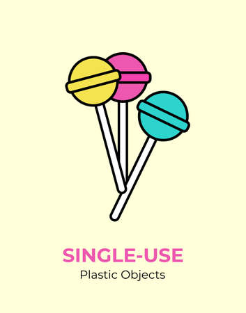 Colorful lollipop with single-use plastic stick. Vector illustration of recycling plastic item. Food plastic stick flat logo for ecological poster, postcard, banner, pollution environment concept.