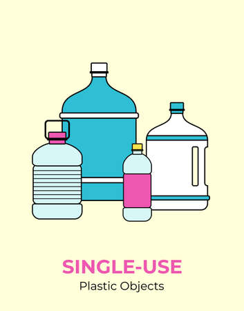 Plastic bottles. Vector illustration of single-use recycling plastic colorful bottles. Isolated transparent bottle. Flat logo for ecological poster, postcard, banner, pollution environment concept.
