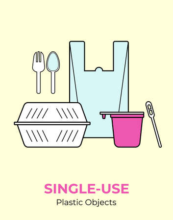 Plastic food container, bag, cup, spoon, fork, stirrer. Single-use white plastic cutlery vector illustration set. Food plastic cutlery flat logo for ecological poster, pollution environment concept Ilustracja
