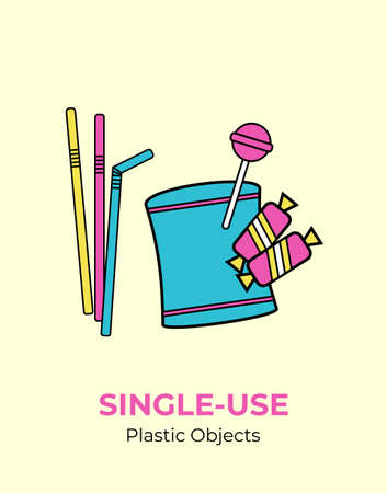 Plastic crisps pouch, candy wrap, straw. Single-use vector illustration of recycling plastic. Isolated wrap pack pouch. Flat logo for ecological poster, postcard, banner, pollution environment concept
