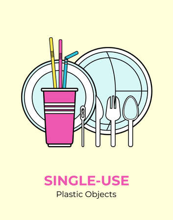 Plastic spoon, fork, knife, stirrer, straws, plates, cup. Single-use white plastic cutlery vector illustration set. Food plastic cutlery flat logo for ecological poster, pollution environment concept. 矢量图像