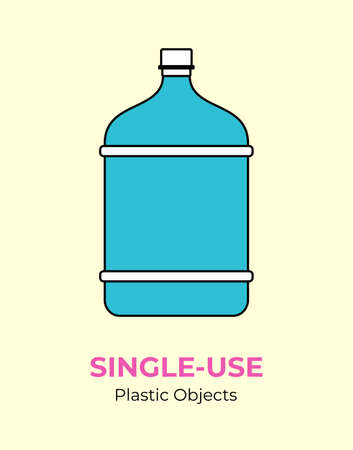 Big blue plastic bottle. Vector illustration of single-use recycling plastic bottle. Isolated blue big bottle. Flat logo for ecological poster, postcard, banner, pollution and environment concept. 矢量图像