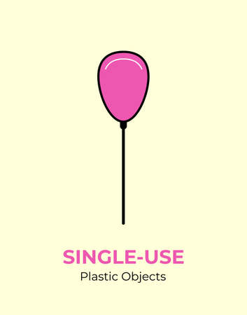 Pink baloon with single-use plastic stick. Vector illustration of recycling plastic item. Pink baloon plastic stick flat logo for ecological poster, postcard, banner, pollution environment concept. 矢量图像