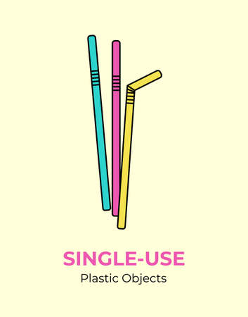 Plastic color straws. Vector illustration single-use recycling plastic item. Disposable plastic straws. Isolated straws flat logo, ecological poster, postcard, banner, pollution environment concept.