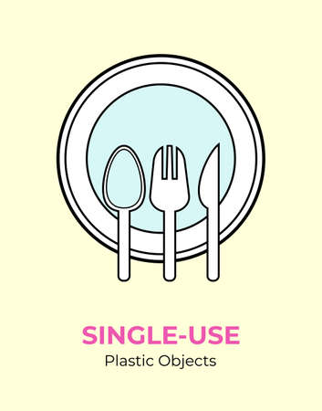 Single-use plastic utensils. Spoon, fork, knife, plate vector illustration set of recycling plastic items. Food plastic cutlery flat logo for ecological poster, postcard, banner. Single-use plastic.