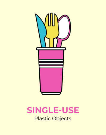 Plastic colored spoon, fork, knife, cup. Single-use pink, yellow, blue plastic cutlery vector illustration set. Food plastic cutlery flat logo for ecological poster, pollution environment concept. 矢量图像
