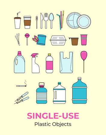 Plastic single-use objects. Vector illustration set of recycling plastic items. Food and household plastic packaging flat logo for ecological poster, postcard, banner, pollution environment concept.