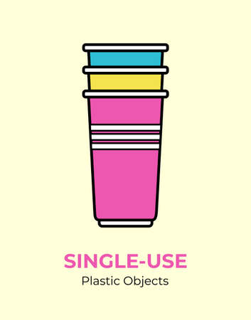 Single-use colored plastic cups. Vector illustration of recycling plastic item. Disposable plastic cup. Isolated pink, blue cup flat logo for ecological poster, postcard, banner. Single-use plastic.