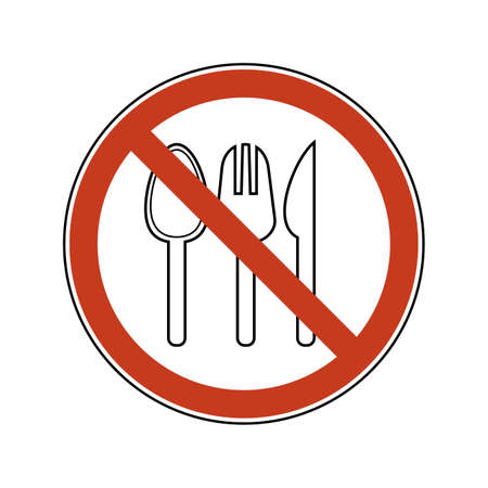 Prohibition sign with spoon, fork, knife. Single-use plastic cutlery. Ban vector illustration set plastic cutlery flat logo for ecological poster, pollution environment concept. 矢量图像