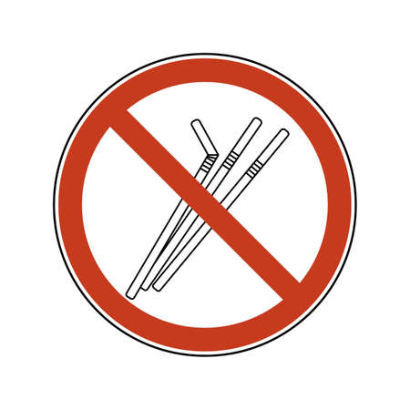 Prohibition sign with straws. Single-use plastic cutlery. Ban vector illustration set of plastic straws flat logo for ecological poster, pollution environment concept. 矢量图像
