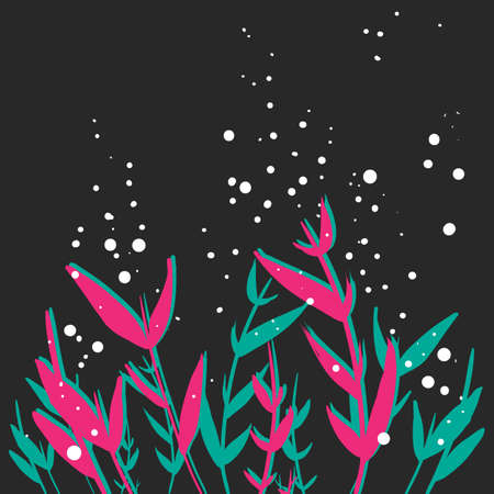 Pink blue flowers grass hand drawn vector black background. Tender night vector backdrop flowers banner, website, poster, postcard, card, wallpaper, flyer. Blue, pink and black hand drawn background  イラスト・ベクター素材