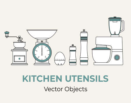 Kitchen utensils vector isolated set. Coffee grinder kitchen scales pepper salt mill mixer timer egg vector line illustration logo icon cafe menu banner flayer. Retro cooking tools appliances isolated