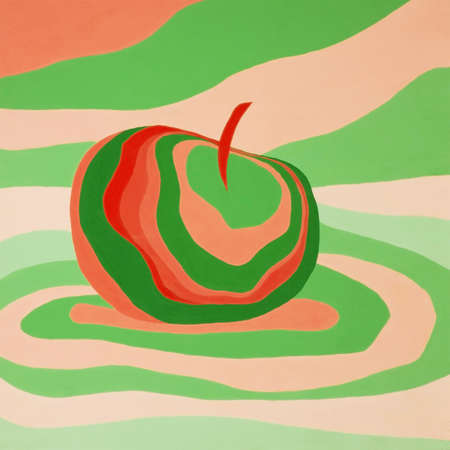 Apple fruit psychedelic red green illustration optical illusion. Colorful hand drawn visualization. Fantastic neon wavy striped apple minimal concept rave party poster background banner