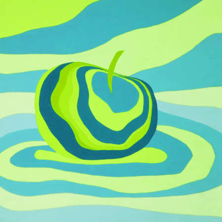 Apple fruit psychedelic blue green illustration optical illusion. Colorful hand drawn visualization. Fantastic neon wavy striped apple minimal concept rave party background banner Stock fotó