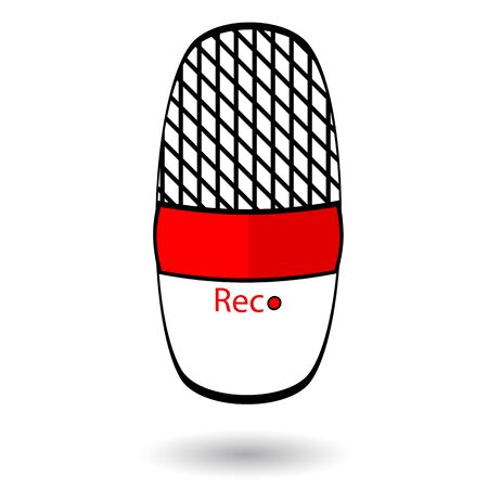 rec: Old radio microphone icon isolated on white
