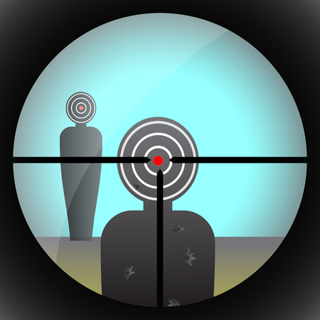 endoscope: View through the rifle sight on goal. Aim Illustration