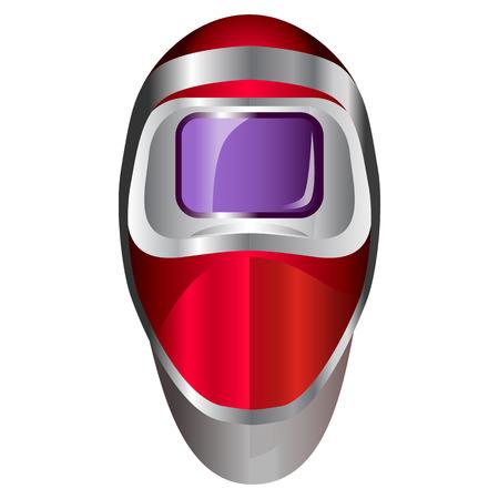 eyewear: Red welding mask. Red robot head.