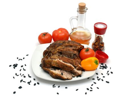 barberries: Grilled meat on a plate with barberries and vegetables.