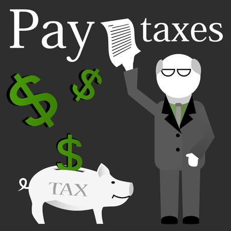 receipt: Businessman holding a paid tax receipt