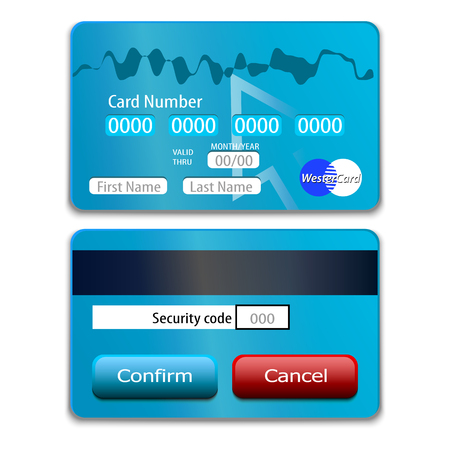 fill in: Plastic bank cards with fields to fill in for the online store