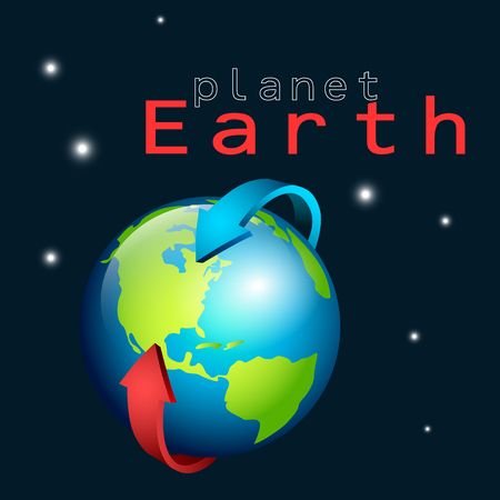 magnetic: Planet earth with magnetic arrow around it