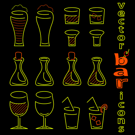 aperitif: Vector drink icon set on black background Illustration
