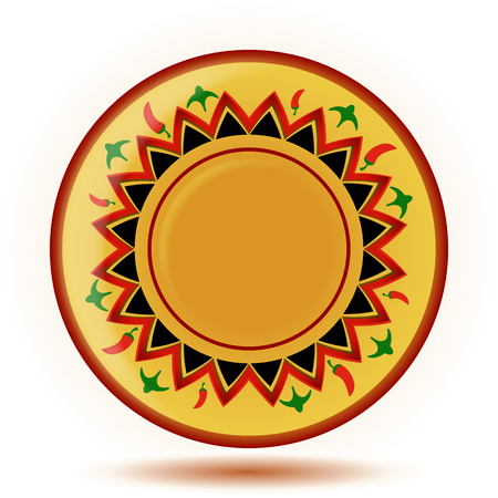 mexican food plate: Yellow mexican ornament painted plate isolated on white background