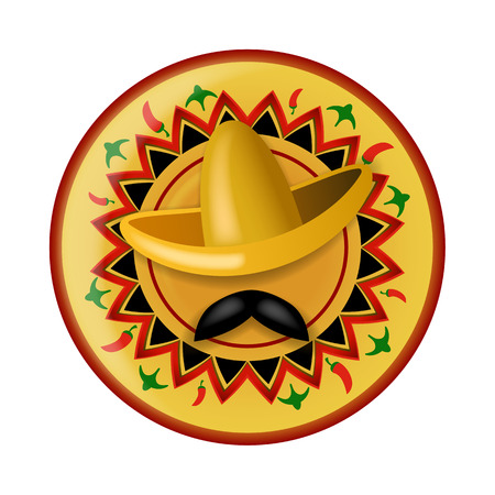 pent: Sombrero and black mustache on background of mexican ornament painted plate Illustration