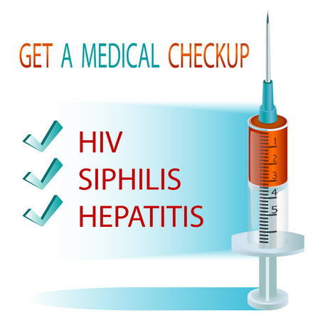 syphilis: Get a medical checkup. Syringe for injection