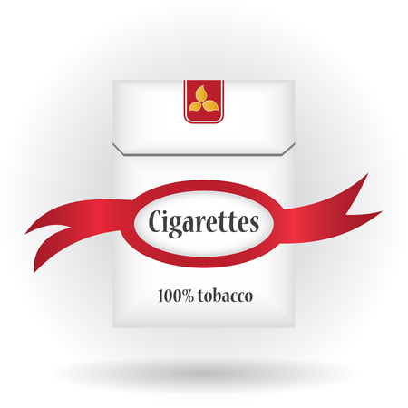 closed ribbon: Closed pack of cigarettes. Cigarettes pack icon. Cigarettes pack with ribbon. Illustration