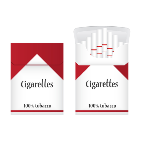 cigarette pack: Closed white pack of cigarettes. Open pack of cigarettes. Two Cigarette packs icon. Cigarettes pack