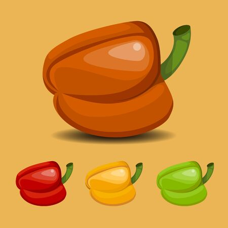 Illustration of sweet pepper on an orange background in orange, red, yellow and green versions
