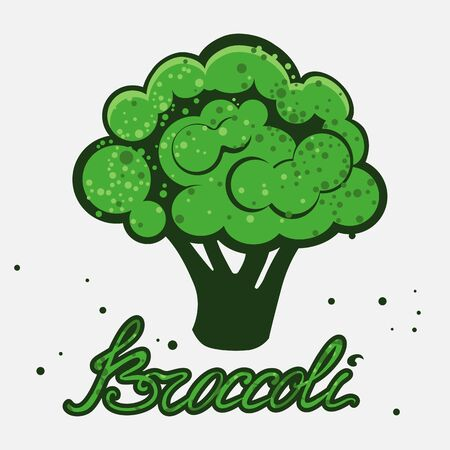 Vector illustration of broccoli on a white background with lettering inscription