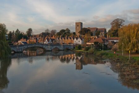 english village: View of Aylesford village, church and bridge on the river Medway in Kent UK Stock Photo