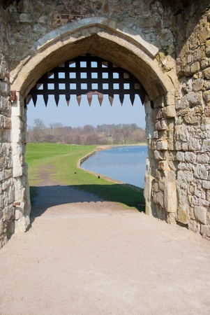 portcullis: Castle Gateway with Portcullis Stock Photo