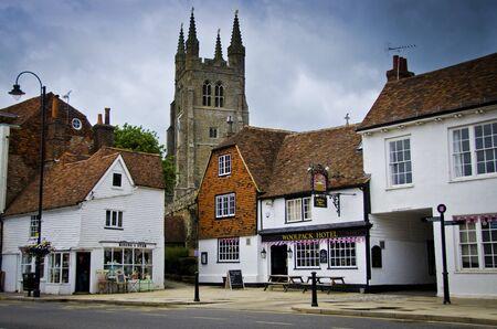 english village: Tenterden High Street with church in background