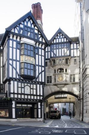 tudor: Clock and Tudor frontage of Liberty
