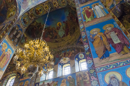 Chandelier and wall mosaics inside the Church of the Spilled Blood, St Petersburg, Russia