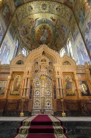 The iconostasis, made of coloured Italian marble in Genoa, in the Church of the Spilled Blood, St Petersburg, Russia