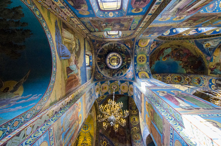 Interior of the Church of the Savior of Spilled Blood in St  Petersburg, Russia
